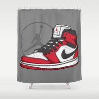 chicago bulls Shower Curtains featuring Jordan 1 OG (Chicago) by Pancho the Macho