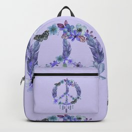 Purple Watercolor Peace Symbol Floral Dreamcatcher Backpack