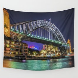 Sydney Harbor Bridge at Night Wall Tapestry