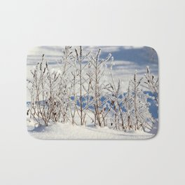 Ice frozen on plants with ice on background Bath Mat
