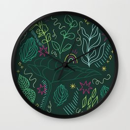 Colorful Leaf Outline Wall Clock