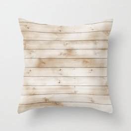 coffee brown distressed stained painted wood board wall Throw Pillow