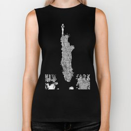 New York city map black and white Biker Tank