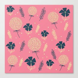 flower pattern spring leaves Canvas Print