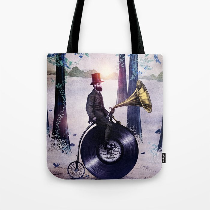 Music man in the woods by Eric Fan & Viviana González Tote Bag
