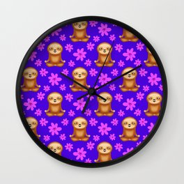 Funny cute little meditating relaxed chilling zen sloths and pretty pink spring flowers deep blue pattern. Gifts for sloth and nature lovers. Nursery ideas. Wall Clock