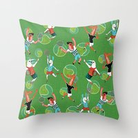 tennis Throw Pillows featuring Tennis by misslin