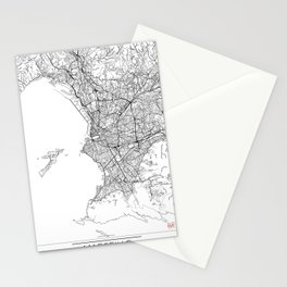Marseille Map White Stationery Cards