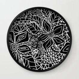 Black and white lace pattern Wall Clock