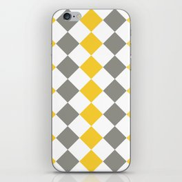 Gray and yellow square pattern iPhone Skin