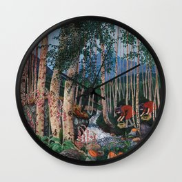 Floxgloves and White Birch amid the Stream landscape by Nikolai Astrup Wall Clock