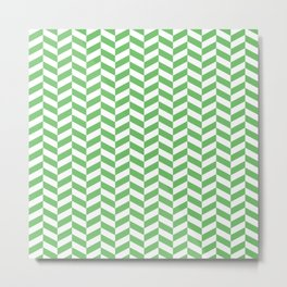 Spring Green Herringbone Pattern Metal Print