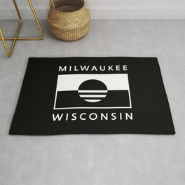 Milwaukee Wisconsin - Black - People's Flag of Milwaukee Rug