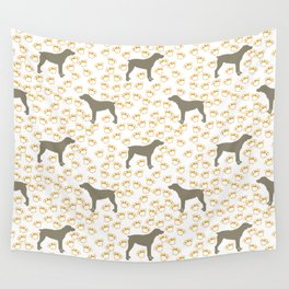 Big Grey Weimaraner Dog and Yellow Paw Prints Wall Tapestry