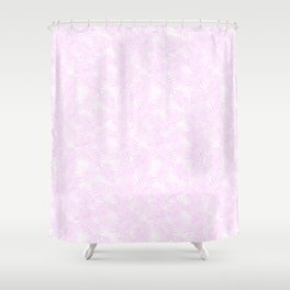 Pale Pastel Pink Monstera and Palm Leaves Shower Curtain