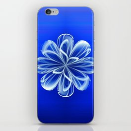 White Bloom on Blue iPhone Skin