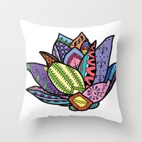 lotus flower Throw Pillows featuring Lotus by Ilse S