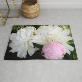 Peonies White & Pink Rug