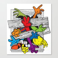 cartoons Canvas Prints featuring Cartoons Attack by luis pippi
