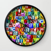 letters Wall Clocks featuring Letters by Ronda Bröc