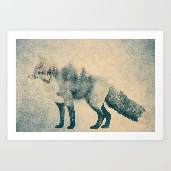Fox and Forest - Shrinking Forest Art Print