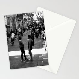 Two girls talking in the streets of Barcelona Spain Stationery Cards