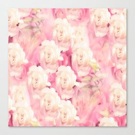 White and pink flowers in summer romance - vintage style Canvas Print