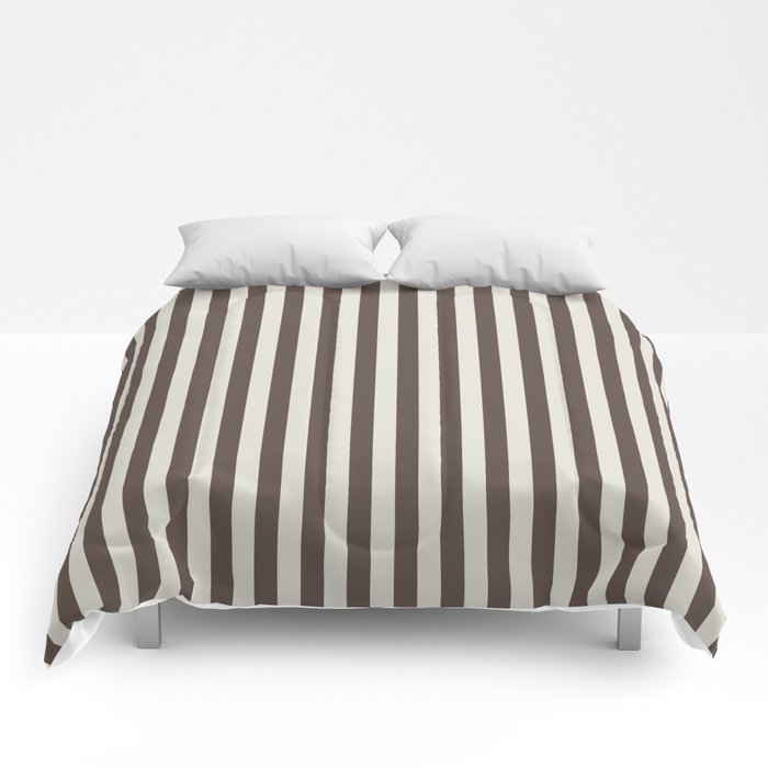 Chateau Brown and Heron Plume Stripe Comforters