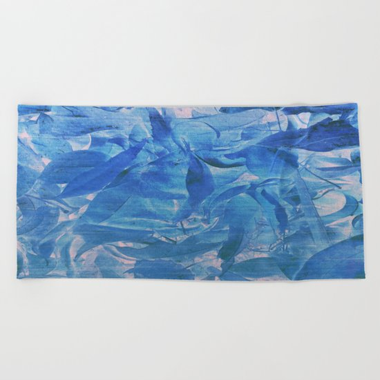 Abstract Blue Leaves Beach Towel