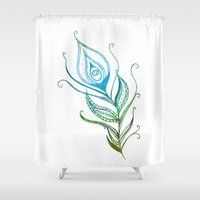 peacock feather Shower Curtains featuring Peacock Feather by Jozi