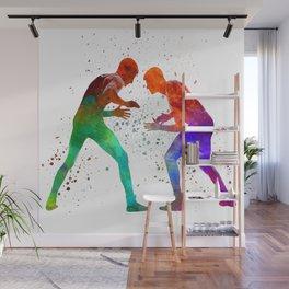 Wrestlers wrestling men 01 in watercolor Wall Mural