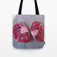 meat Tote Bags featuring Meat Meat Meat (4) by The Avant-Garden