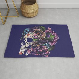 Day of the dead floral sugar skull with flowers colorful design Rug