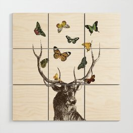 The Stag and Butterflies Wood Wall Art