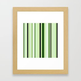Black Light Blue and Shades of Green Stripes Framed Art Print