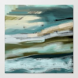 Blue and Green Ocean and Sand Abstract Canvas Print