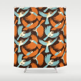 Chickadees in Brown Shower Curtain