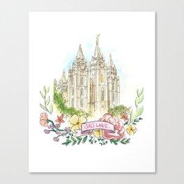 Salt Lake City LDS watercolor Temple with flower wreath Canvas Print