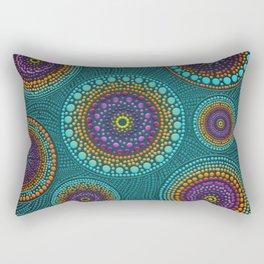 Dot Art Circles Teals and Purples #2 Rectangular Pillow