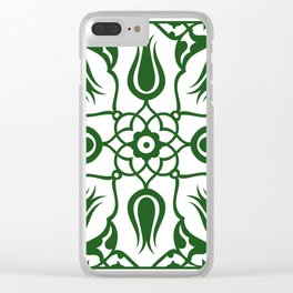 Green Turkish Traditional Floral Tile Art Clear iPhone Case