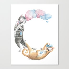 C is for Cats with Cotton Candy -ABC's by Brandie Lee - Laugh-A-Bit Alphabet BirdFlyOver Canvas Print
