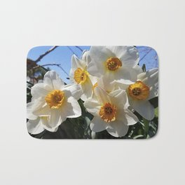 Sunny Faces of Spring - Gold and White Narcissus Flowers Bath Mat