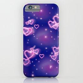 Pink Neon Heart Pattern iPhone Case