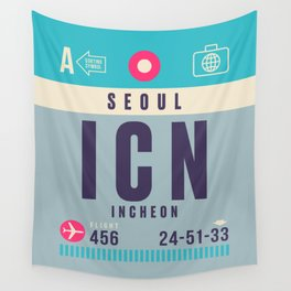 Retro Airline Luggage Tag - ICN Seoul Korea Wall Tapestry