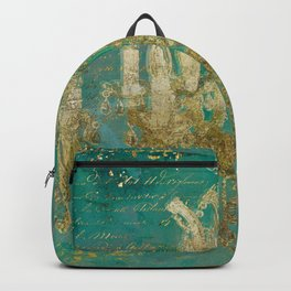Gold and Peacock Chandelier Backpack