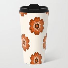 Retro floral flowers pattern minimal 70s style pattern print 1970's Travel Mug
