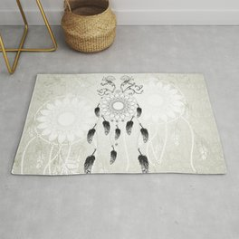 Dreamcatcher in black and white Rug