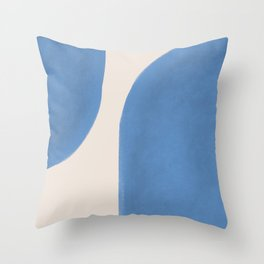 Painted Shapes - Blue Minimalist Throw Pillow