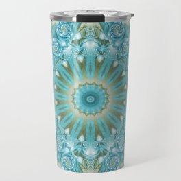 Turquoise and Gold Mandala Tile Travel Mug