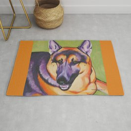 German Shepard Pop Art Pet Portrait Rug